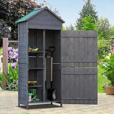 Outdoor Garden Shed Wooden Tool Storage Shelves Utility Cabinet 2 Door - Grey • 129.99£