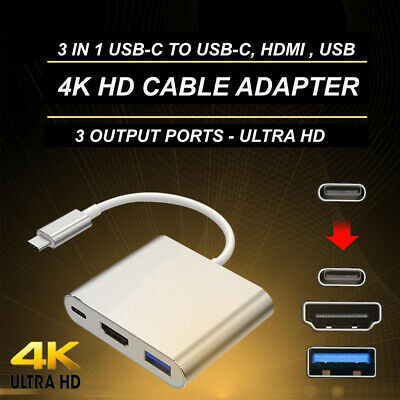 AU14.99 • Buy USB C HDMI Adapter 3 In 1 Hub For MacBook Pro
