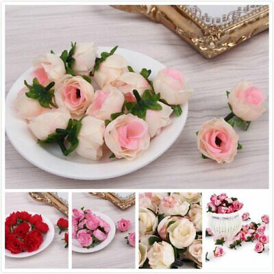 £5.69 • Buy 50PCS Artificial Rose Flower Heads Silk Bulk Fake Bouquet Party Wedding Decor UK