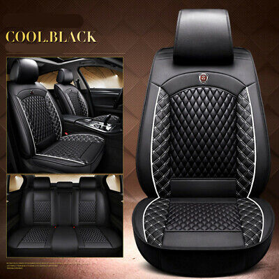 $ CDN147.56 • Buy Luxury PU Leather 5-Seats Car Seat Cover Front Rear Cushion Full Set Black/White