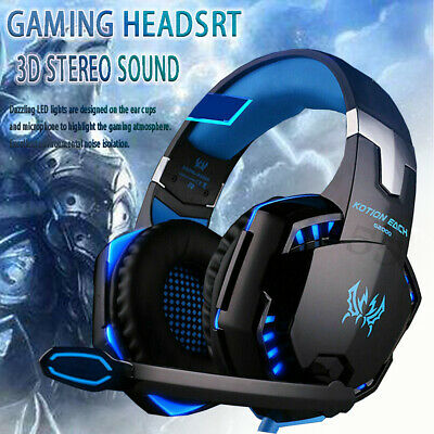 3.5mm Gaming Headset MIC LED Headphones For PC Laptop PS4 PS5 Pro Xbox One 360. • 10.26£