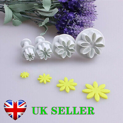 4x Flower Icing Cookie Cutter Fondant Cake Sugarcraft Mold Plunger Decorating • 3.59£
