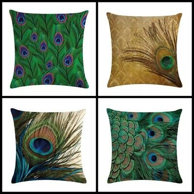 UK Peacock Bird Feather Cushion Covers Linen Large 18 Inch / 45 Cm Set Of 4 • 19.99£