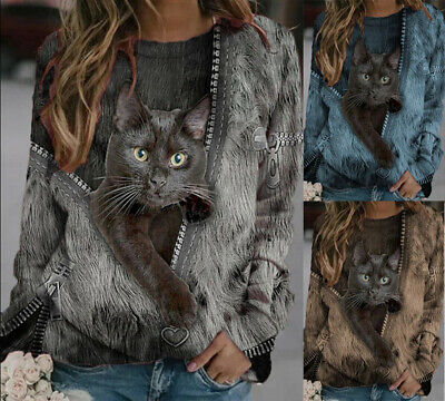 Womens Ladies Cat T Shirt Casual Blouse Baggy Long Sleeve Jumper Plus Size Tops • 9.87£