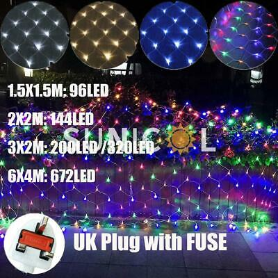 LED String Fairy Lights Curtain Mesh Net Christmas Tree Decor Outdoor Garden UK • 11.03£