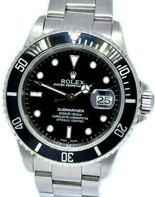 $ CDN12085.52 • Buy Rolex Submariner Date Steel Black Dial/Bezel Mens 40mm Watch Box/Papers A 16610