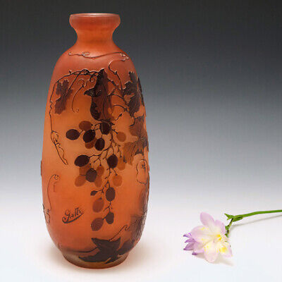 £1735 • Buy A Galle Three Colour Cameo Glass Vase C1920