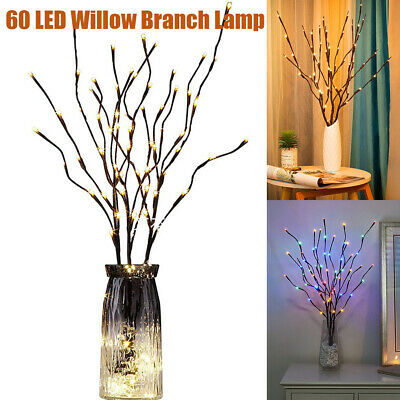 60 LED Branch Twig Lights Light Up Willow Tree Branches Christmas Vase Decor USB • 10.79£