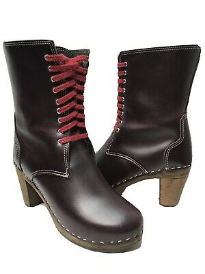 $88 • Buy MAGUBA Sidney Clog Lace Up Boots Womens EU 39 / US 9-9.5 Burgundy Made In Sweden