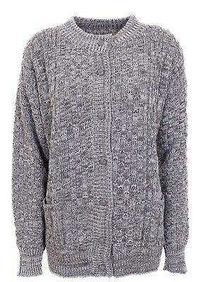 £16.99 • Buy Women Ladies Chunky Cable Knit Long Sleeve Aran Crew Neck Cardigan Size 12-20