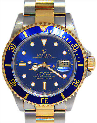 $ CDN14306.62 • Buy Rolex Submariner 18k Yellow Gold/Steel Blue Dive Mens Watch Box/Papers T 16613