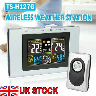 Wireless Color Digital Weather Station Hygrometer Forecast Sensor Clock Humidity • 21.99£