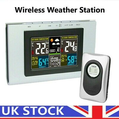 LCD Wireless Digital Weather Station Sensor Temperature Humidity Barometer Clock • 21.99£