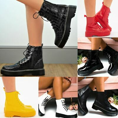 £14.99 • Buy Womens Ladies Chunky Ankle Boots Lace Up Ankle Boots Platform Goth Punk Black UK