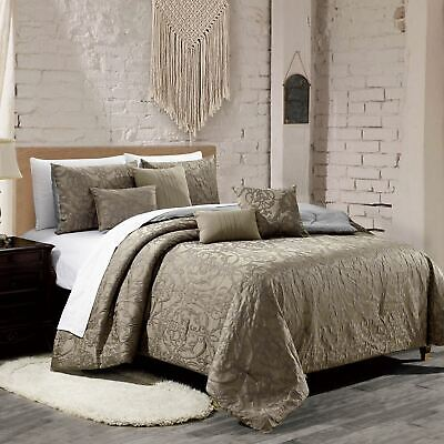 $ CDN88.61 • Buy 7 Piece Embroidery Jacquard Taupe Comforter Set Queen Or King Size AT Linen Plus