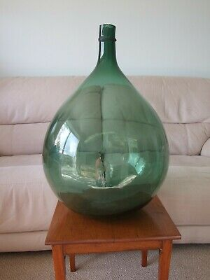 Antique Large, Hand Blown Green Glass Carboy Or Demijohn Bottle • 85£