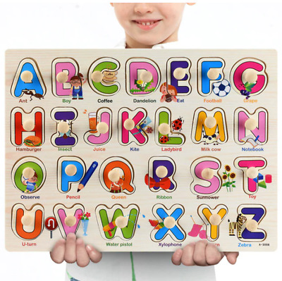 £5.99 • Buy New Baby Toddler Jigsaw Kids Puzzle Alphabet Letters Animal Wooden Learning Toys