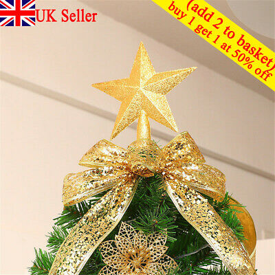 Large Glitter Star Christmas Xmas Tree Topper Decoration Xmas TreeTop Ornament ❥ • 3.32£
