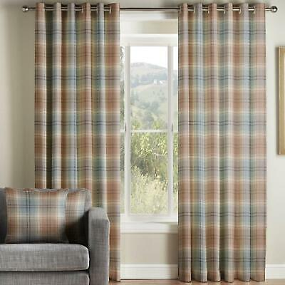 Duck Egg Eyelet Curtains Kirkwall Tartan Check Heavy Lined Ring Top Curtain Pair • 157.99£