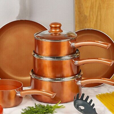 4 PCS URBN-CHEF Ceramic Copper Induction Cooking Pots Lid Saucepans Cookware Set • 34.99£