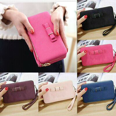 Womens Clutch Bag Ladies Leather Wallet Purse Handbag Phone Card Coin Zip Holder • 3.99£