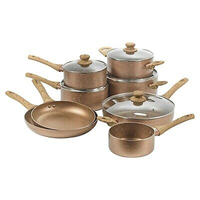 8 PCS URBN-CHEF Ceramic Rose Gold Induction Cooking Pots Frying Pan Cookware Set • 74.99£