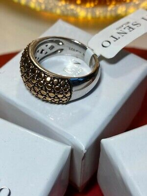 £30 • Buy TI SENTO Sterling Silver Ring Top Plated With Yellow Gold With Box