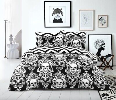 Halloween Baroque Gothic Skull Black Duvet Cover Bedding Sets Double King Size • 16.99£