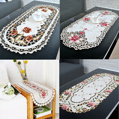 AU13.49 • Buy White Vintage Embroidered Lace Table Runner Doilies Dining Wedding Party Decor