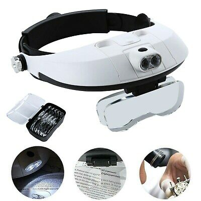 Professional Headband With 2 LEDS Light Jeweler Magnifier Magnifying Glass Loupe • 11.99£