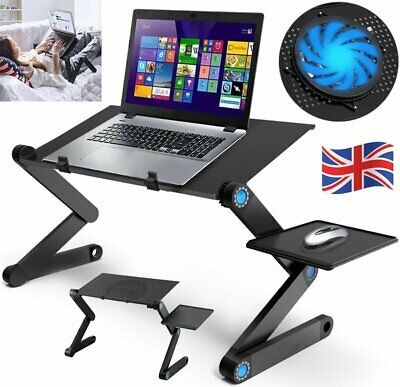 UK Adjustable Portable Laptop Bed Table Stand Tray Foldable Desk W/ Cooling Fan • 17.51£