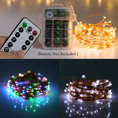 50 LED Battery Micro Rice Wire Copper Fairy String Lights Party + Remote Control • 5.23£