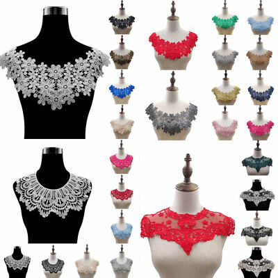 Lace Embroidered Neckline Neck Trim Sewing Applique Patches Fabric DIY Dress • 1.93£