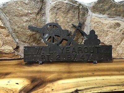 $69.99 • Buy Vintage Mailbox Topper Sign Cannon With Cannon Balls Address Sign