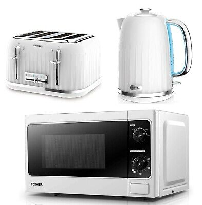 £169.99 • Buy Breville Impressions White Toaster & Electric Kettle Set Toshiba Microwave Oven