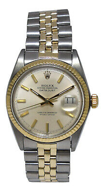 $ CDN6627.07 • Buy Rolex Datejust 14k Yellow Gold/Steel Silver Dial Mens 36mm Watch 1601
