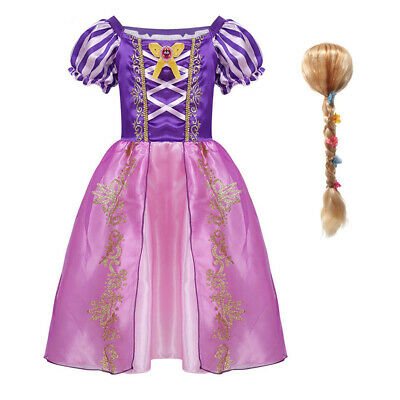 Girl Kids Tangled Rapunzel Fancy Dress Up Princess Costume Party With Flower Wig • 13.99£