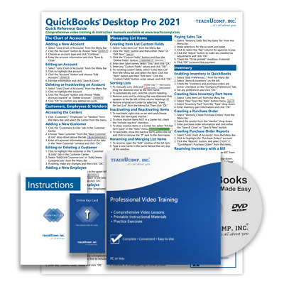 £23.96 • Buy QUICKBOOKS PRO 2021 DELUXE Training Tutorial Course With Quick Reference Guide