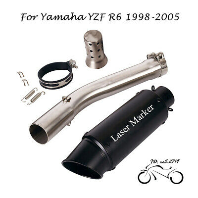 $107.63 • Buy For Yamaha R6 YZF-R6 1998-05 Motor Exhaust Tips Mid Link Pipe Muffler Tail Black