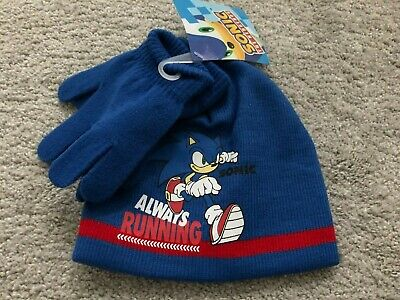 New Boys Sonic The Hedgehog Blue Warm Winter Hat And Gloves Set Age 2,3,4,5,6 • 4.99£