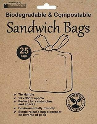 Biodegradable Compostable Sandwich Snack Bags Eco Friendly Tie Handle Pack 25 • 3.05£