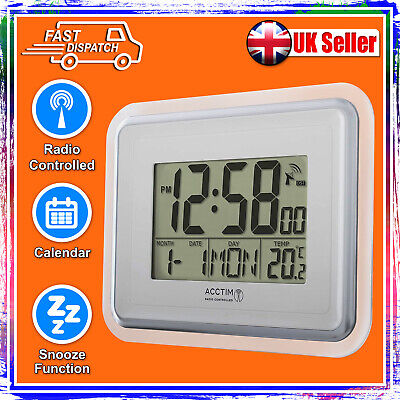 £21.95 • Buy Acctim Delta Wall Clock 74577 Lcd Alarm Snooze Silver Radio Controlled - New
