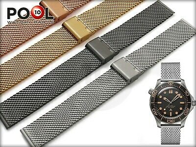 For OMEGA Watch Mesh Milanese Steel Metal Strap Band Bracelet Buckle Clasp • 25.90£
