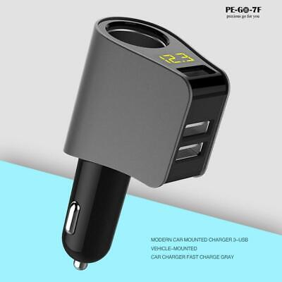 3 USB Fast Car Charger Phone Adapter With Volmeter Cigar Lighter Smart Socket • 13.29£
