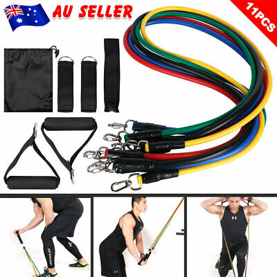 AU14.95 • Buy Resistance Bands Set 11PCS Home Gym Exercise Yoga Tubes With Handles Door Anchor