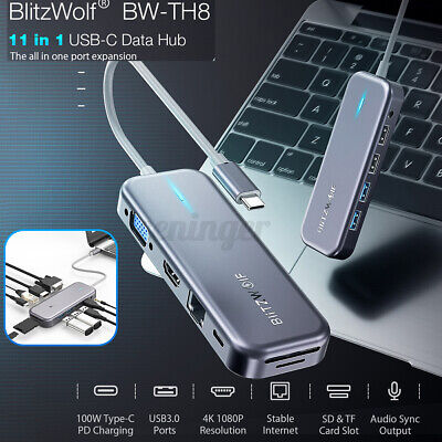 AU68.49 • Buy BlitzWolf BW-TH8 11 In 1 USB-C Data Hub With Type-C PD Power Delivery USB3.0