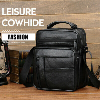 Men's Genuine Leather Messenger Bag Cross Body Shoulder Utility Travel Work UK • 14.94£