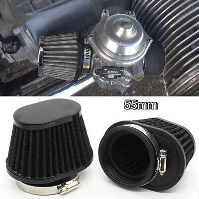 £7.99 • Buy 55mm Universal Motorcycle Air Filter Breather Oval High Flow Intake Cone Pod