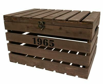 Retro Vintage Brown Wooden Slatted Apple Storage Crate Box With Lid • 24.99£