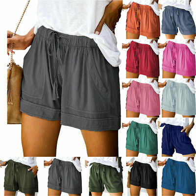 Womens Summer Drawstring Shorts Ladies Elastic Waist Pocket Loose Short Pants • 8.89£
